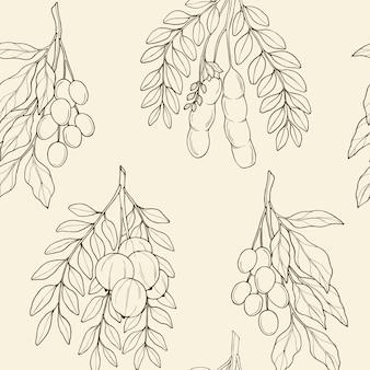 Бесшовный фон с аюрведическими растениями