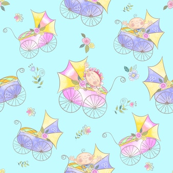 Seamless pattern with babies in strollers.