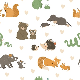 Seamless pattern with baby animals and their parents