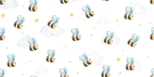 아기 꿀벌, 귀여운 아기 일러스트와 함께 완벽 한 패턴