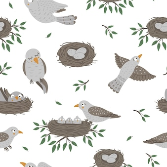 赤ちゃんの鳥とその親とのシームレスなパターン