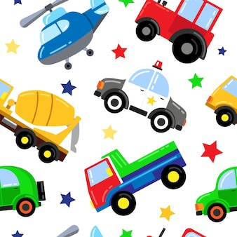 Seamless pattern with baby cars in cartoon style