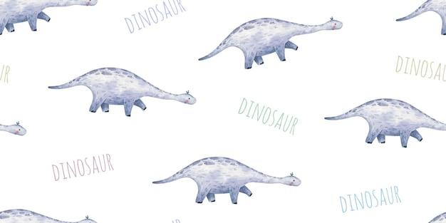Бесшовный фон с детскими динозаврами с длинной шеей и следами милой детской иллюстрации