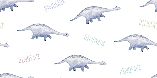 Seamless pattern with baby dinosaurs with long neck and footprints cute baby illustration