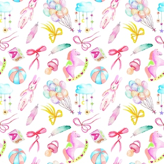 Seamless pattern with baby girl shower watercolor elements