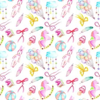 여자 아기 샤워 수채화 요소와 원활한 패턴