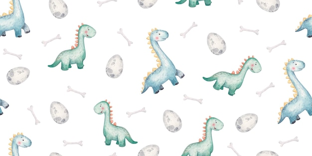 Seamless pattern with baby green dinosaurs and clouds cute baby illustration