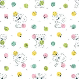 흰색 바탕에 아기 코알라와 함께 완벽 한 패턴