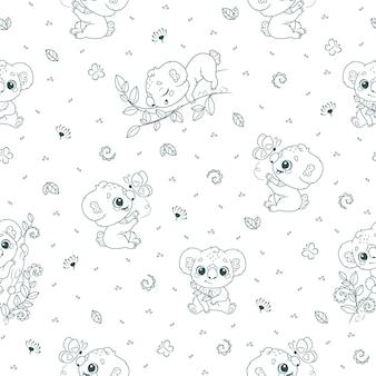 Бесшовный фон с детенышами коал на белом фоне