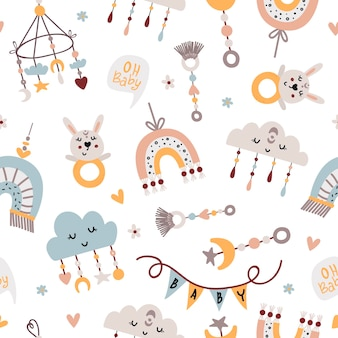 Seamless pattern with baby mobiles and toys
