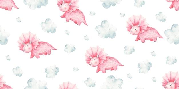 赤ちゃんピンクの恐竜と雲のかわいい赤ちゃんのイラストとのシームレスなパターン