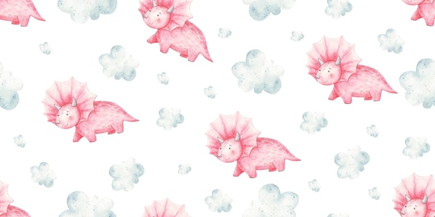 Seamless pattern with baby pink dinosaurs and clouds cute baby illustration