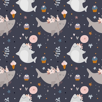 Seamless pattern with baby shark, sea animals. baby shower or happy birthday pattern