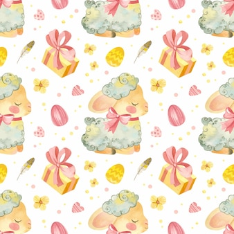Seamless pattern with baby sheep illustration