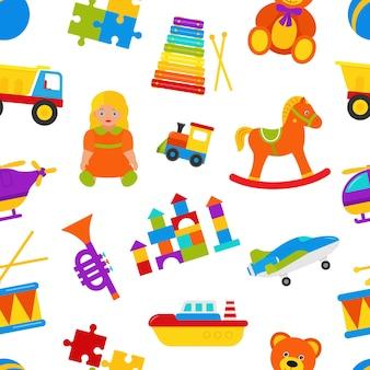 赤ちゃんのおもちゃとのシームレスなパターン。かわいい背景。漫画のカラフルなイラスト