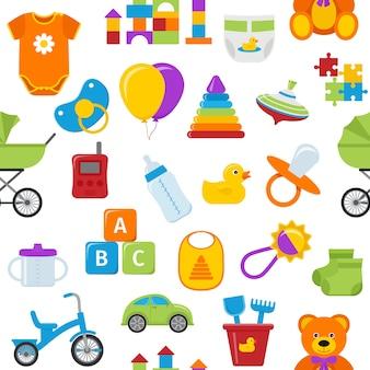 赤ちゃんのおもちゃとのシームレスなパターン。 Premiumベクター
