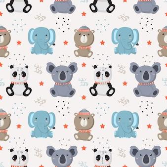 Seamless pattern with baby wild animals
