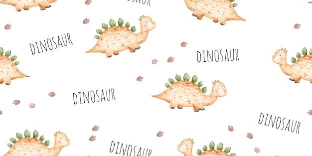 Бесшовный фон с детскими желтыми динозаврами и следами милой детской иллюстрации