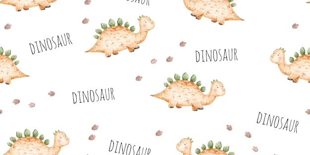 Seamless pattern with baby yellow dinosaurs and footprints cute baby illustration