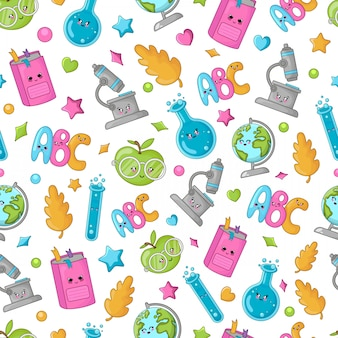 Seamless pattern with back to school concept, kawaii cute cartoon characters