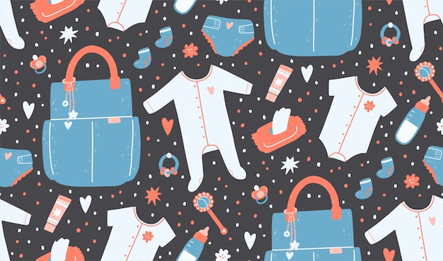 Seamless pattern with a bag, napkins, diapers, rattles, clothes, a bottle, cream.
