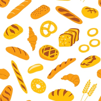 Seamless pattern with bakery and confectionery food.