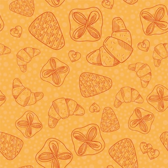 Seamless pattern with bakery products. ??roissant, cookies, a piece of cake and puff.