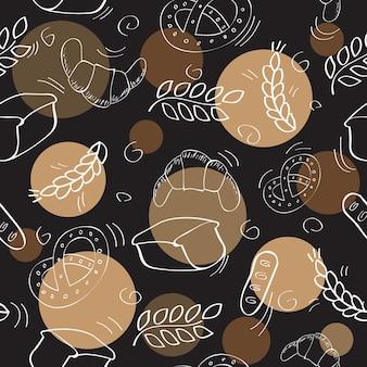 ベーカリー製品とのシームレスなパターン-ベクトル図