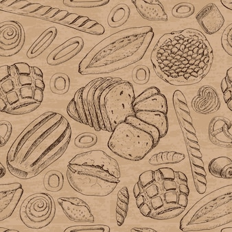 Seamless pattern with bakery products