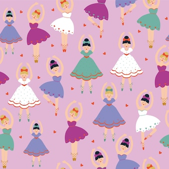 Seamless pattern with ballerinas and hearts on pink background.