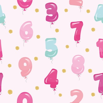 Seamless pattern with balloon numbers.