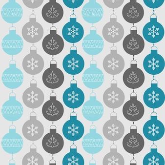 Бесшовный фон с шарами и снежинками. рождество и новогодний фон. векторная иллюстрация eps10