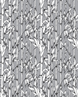 Seamless pattern with bamboo branches