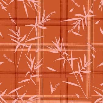 Seamless pattern with bamboo leaves on hand drawn grid check