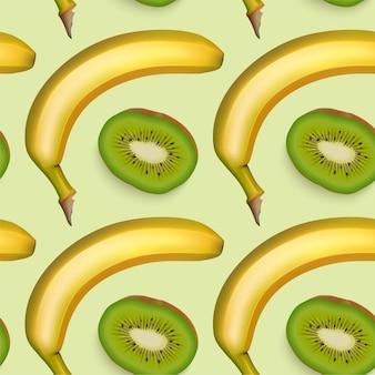 Бесшовный фон с бананом и киви