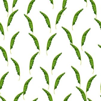Бесшовный фон с печатью банановых листьев.