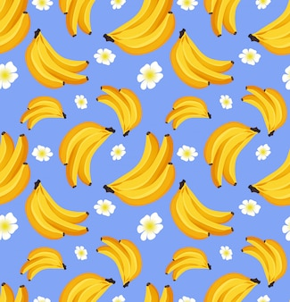 Бесшовный фон с бананом. тропический фрукт. концепция дизайна украшений для ткани, бумаги.