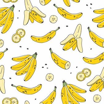 かわいい漫画の落書きスタイルのバナナとのシームレスなパターン