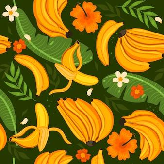 Бесшовный фон с бананами, листьями и цветами. векторная графика.