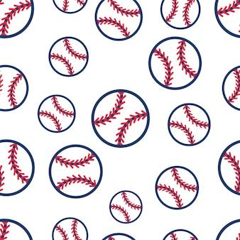 Seamless pattern with baseball softball ball graphics
