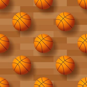 Seamless pattern with basketball ball illustration