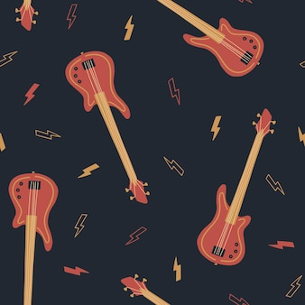 Seamless pattern with bass guitar and lightning international music day vector musical instruments