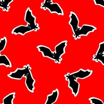 할로윈에 대 한 빨간색 배경 벡터 일러스트 레이 션 디자인에 박쥐와 원활한 패턴
