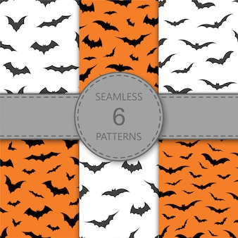 오렌지와 흰색 배경, 일러스트 레이 션에 박쥐와 원활한 패턴