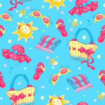 Seamless pattern with beach accessories and sun