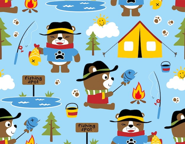 Seamless pattern with bear cartoon camping