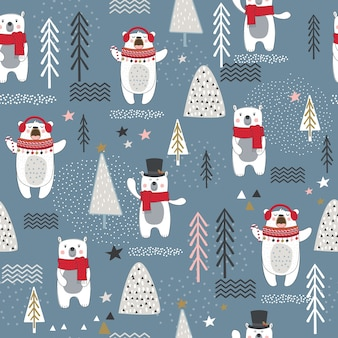 Seamless pattern with bear, forest elements and hand drawn shapes.