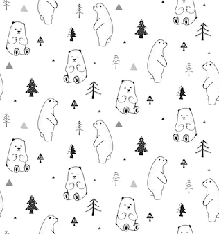 Seamless pattern with bear and forest