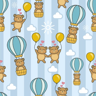 Seamless pattern with bear in a hot air balloon