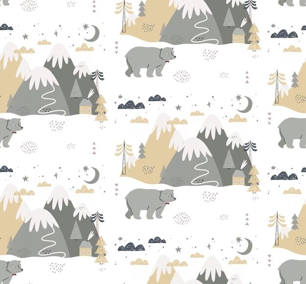 クマ、山、木、雲、雪、家とのシームレスなパターン。子供のためのスカンジナビアスタイルの手描きの冬のイラスト。